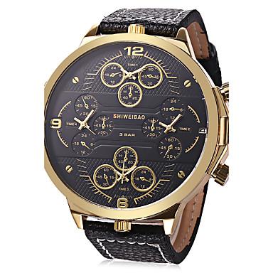 levne Pánské-Pánské Sportovní hodinky Vojenské hodinky Náramkové hodinky Křemenný Velkoformátové Pravá kůže Černá Kalendář kreativita Hodinky s trojitým časem Analogové Přívěšky Luxus Vintage Na běžné nošen