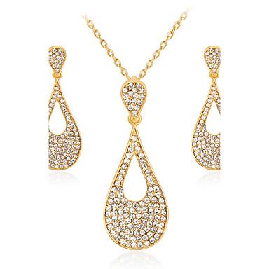 Damen Schmuckset Halskette Modisch Euramerican Strass Aleación Geometrische Form 1 Halskette 1 Paar Ohrringe Für Hochzeit Party Besondere