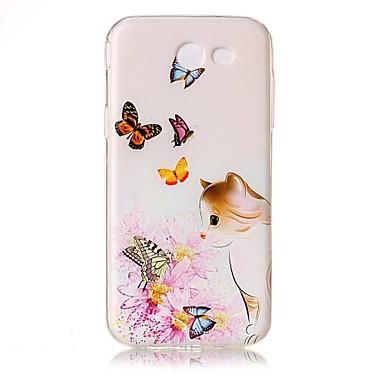 Maska Pentru Samsung Galaxy J5 (2016) J3 (2016) Transparent Embosat Model Carcasă Spate Pisica Fluture Floare Moale TPU pentru J5 (2016)