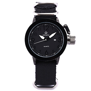 זול שעוני גברים-בגדי ריקוד גברים שעוני אופנה קווארץ דיגיטלי סיליקוןריצה ניילון שחור 30 m אנלוגי לבן שחור