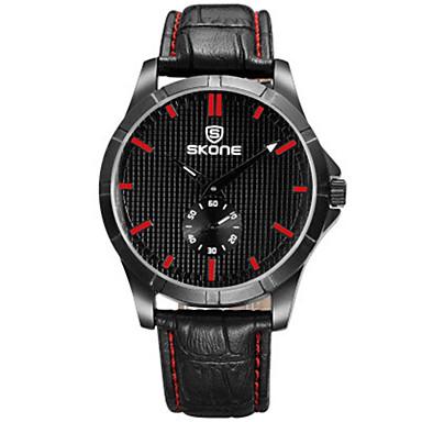 SKONE Heren Modieus horloge Digitaal horloge Chinees Kwarts Leer Band Zwart Bruin