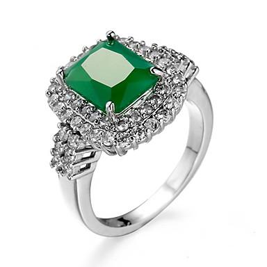 Damen Smaragd Smaragdfarben Aleación Ring - Anderen Einzigartiges Design Euramerican Modisch Dunkelgrün Ring Für Hochzeit Besondere
