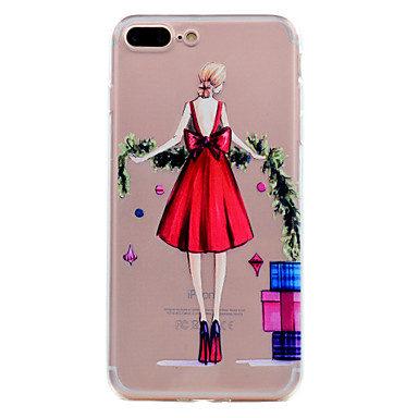 Hülle Für Apple iPhone 7 Plus iPhone 7 Transparent Muster Rückseite Sexy Lady Cartoon Design Weich TPU für iPhone 7 Plus iPhone 7 iPhone