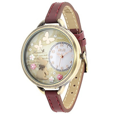 Dames Modieus horloge Kwarts Leer Band Bruin