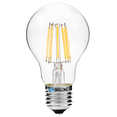 BRELONG® 1pc 8W 600lm E27 LED Glühlampen A60(A19) 8 LED-Perlen COB Warmes Weiß Weiß 200-240V