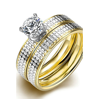 Dames Bandringen Ring Verlovingsring Modieus Eenvoudige Stijl Bruids Titanium Staal Ronde vorm Sieraden Voor Bruiloft Feest Speciale