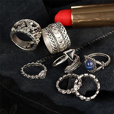 Herrn Damen Ring Schmuck Silber Zinklegierung Kreisförmig Dreieck Geometrische Form Irregulär Blume Blumig Geometrisch Einzigartiges