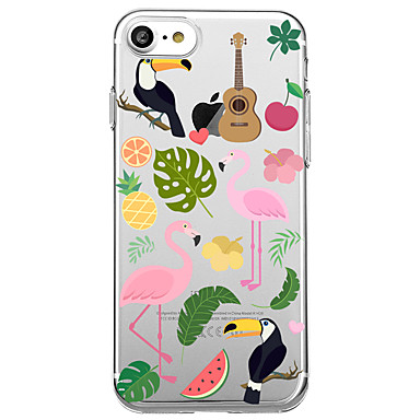 hoesje Voor Apple Transparant Patroon Achterkantje Flamingo Fruit Zacht TPU voor iPhone 7 Plus iPhone 7 iPhone 6s Plus iPhone 6 Plus