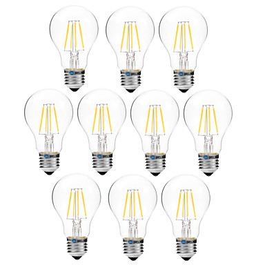 BRELONG® 10pcs 4W 300lm E27 LED Filament Bulbs A60(A19) 4 LED Beads COB Dimmable Warm White White 200-240V