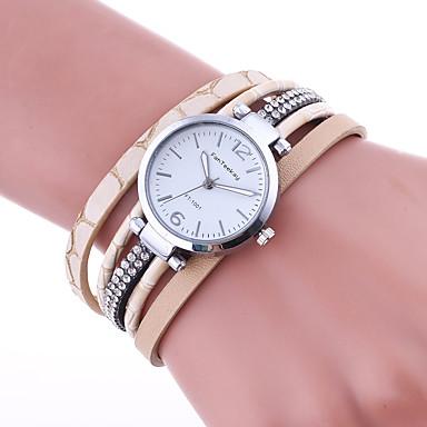 Damen Armband-Uhr Quartz Strass Leder Band Freizeit Schwarz Rot Braun Beige Marinenblau