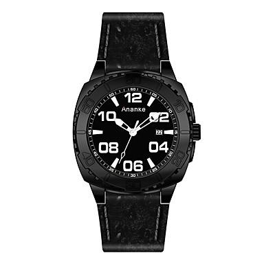 Heren Dress horloge Modieus horloge Kwarts Hot Sale Echt leer Band Amulet Zwart