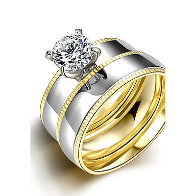 Pentru femei Verighete Inel Inel de logodna La modă stil minimalist de Mireasă Oțel titan Round Shape Bijuterii Pentru Nuntă Petrecere