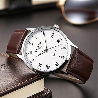 Недорогие Часы на кожаном ремешке-Муж. Модные часы Кварцевый Классический Кожа Черный / Коричневый Аналоговый На каждый день Простые часы - Белый Синий
