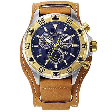 levne Pánské-Pánské Sportovní hodinky Vojenské hodinky Náramkové hodinky japonština Křemenný Pravá kůže Černá / Hnědá 30 m Voděodolné Kalendář kreativita Analogové Přívěšky Luxus Vintage Na běžné nošení Skládaný