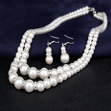 2f354ca5ebe4 abordables Set de Joyas de Perlas-Mujer Perla Doble cadena Conjunto de  joyas Perla damas