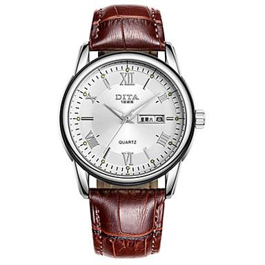Heren Modieus horloge Kwarts Kalender Waterbestendig Leer Band Zwart Bruin