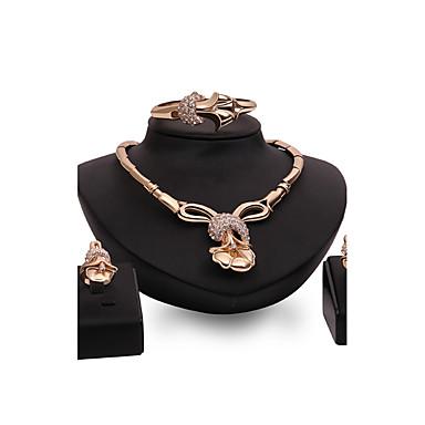 Dames Bergkristal Strass Bloemen Sieraden set 1 Ketting 1 Armband 1 Ring Oorbellen - Gepersonaliseerde Bloemen Vintage Statement