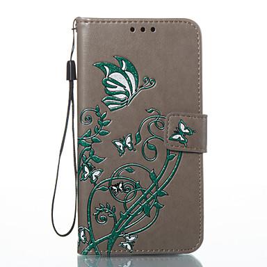 غطاء من أجل Samsung Galaxy A5(2017) A3(2017) حامل البطاقات محفظة مع حامل قلب نموذج مطرز غطاء كامل للجسم فراشة قاسي جلد PU إلى A3 (2017)