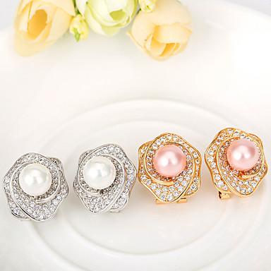 Damen Ohrstecker Schmuck Einzigartiges Design Modisch Euramerican Perle Künstliche Perle Zirkon Rosa Perle Aleación Schmuck Schmuck Für