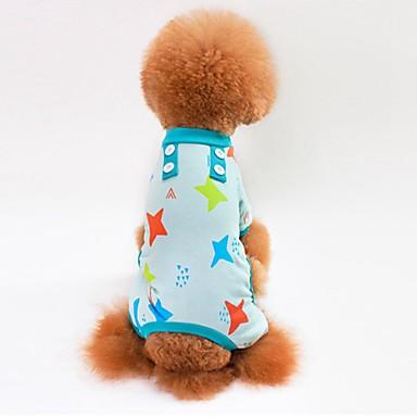 Pisici Câine Tricou Hanorca Salopete Pijamale Pantaloni Îmbrăcăminte Câini Stele Gri Albastru Roz Bumbac Costume Pentru animale de