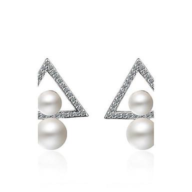 Damen Ohrstecker - Perle, Platiert doppelt-Perlen Silber Für Party / Alltagskleidung / Geschenk