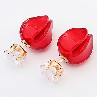 Damen Ohrstecker Tropfen-Ohrringe Kreolen Synthetischer Diamant Personalisiert Blumig Einzigartiges Design Logo Stil Klassisch Retro