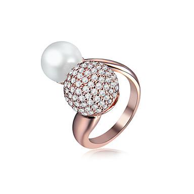 Dames manchet Ring Zirkonia Goud Imitatieparel Zirkonia Koper Geometrische vorm Vintage Bruids Doe-het-zelf Elegant Euramerican Hip-hop