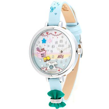 Dames Modieus horloge Kwarts Leer Band Blauw Geel