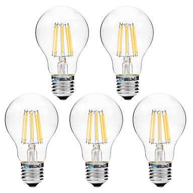 BRELONG® 5pcs 8W 600 lm E27 مصابيحLED A60(A19) 8 الأضواء COB أبيض دافئ أبيض أس 200-240 V
