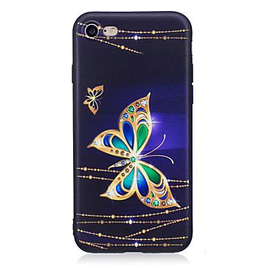 voordelige iPhone 5 hoesjes-hoesje Voor Apple iPhone X / iPhone 8 Plus / iPhone 8 Strass / Patroon Achterkant Vlinder Zacht TPU