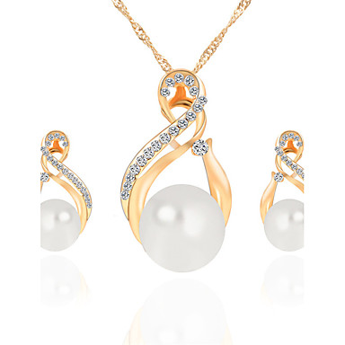 Pentru femei Set bijuterii - Cristal, Imitație de Perle, Ștras Picătură, Infinit Lux, Stil Atârnat, Perla Include Colier / cercei / Seturi de bijuterii de mireasă Auriu / Argintiu Pentru Cadouri de