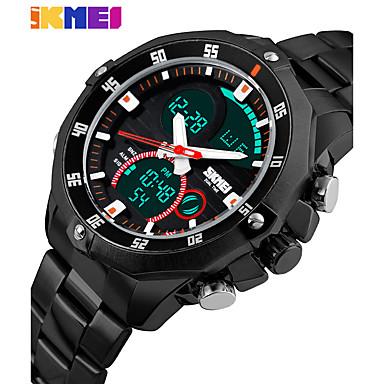 Heren Digitaal Polshorloge Smart horloge Chinees Kalender Chronograaf Grote wijzerplaat s Nachts oplichtend Dubbele tijdzones Roestvrij