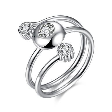 Pentru femei Inel Argintiu Plastic Zirconiu Design Unic Zi de Naștere Afaceri Cadou Zilnic Birou și carieră Costum de bijuterii