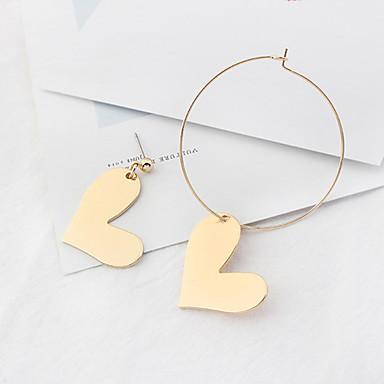 للمرأة أقراط قطرة أسلوب بسيط عدم تطابق موضة euramerican في نحاس Heart Shape مجوهرات من أجل يوميا