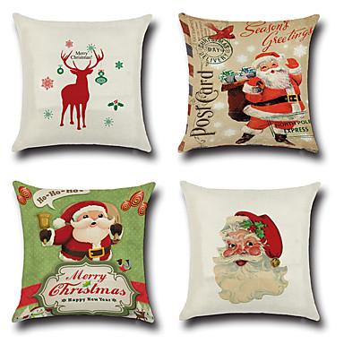 4.0 buc Bumbac/In Față de Pernă Față de pernă, Crăciun Modă Noutate Euro Tradițional/Clasic Retro Crăciun