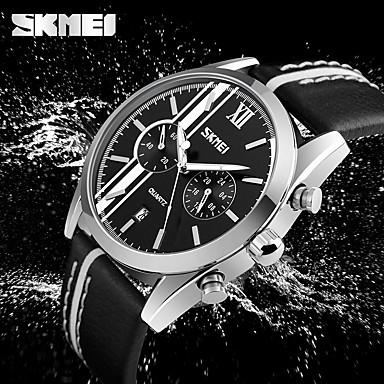 SKMEI للرجال ساعة المعصم ياباني رزنامه / مقاوم للماء / كوول جلد فرقة كاجوال / موضة أسود