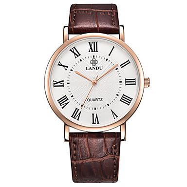 Heren Modieus horloge Kwarts Waterbestendig Leer Band Zwart Bruin