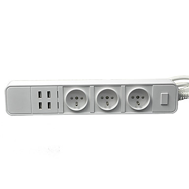 Us / eu Stecker 3 Steckdosen 4 USB-Anschlüsse 1,8 m 16a 250V Steckdosenleiste