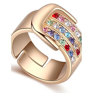 Dames Ring manchet Ring Kristal Gepersonaliseerde Luxe Cirkelvormig ontwerp Uniek ontwerp Klassiek Vintage Bohémien Standaard