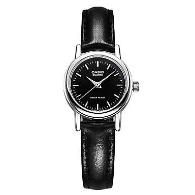 Casio للمرأة ساعات فاشن ساعة كاجوال ساعة المعصم ياباني كوارتز مقاوم للماء جلد فرقة عادية أنيقة أسود