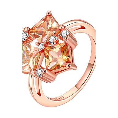 Pentru femei Inel Bijuterii Roz auriu Zirconiu Articole de ceramică Placat Cu Aur Roz Geometric Shape neregulat Personalizat Lux