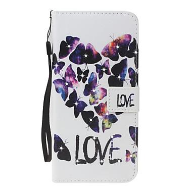Maska Pentru Apple Portofel Titluar Card Stras Cu Stand Întoarce Model Magnetic Corp Plin Fluture Inimă Greu PU Piele pentru iPhone 7