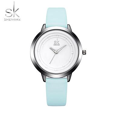 SK للمرأة كوارتز ساعة المعصم ساعة رياضية صيني طرد كبير مقاومة الصدمات PU فرقة كاجوال الحد الأدنى أنيقة موضة كوول أزرق
