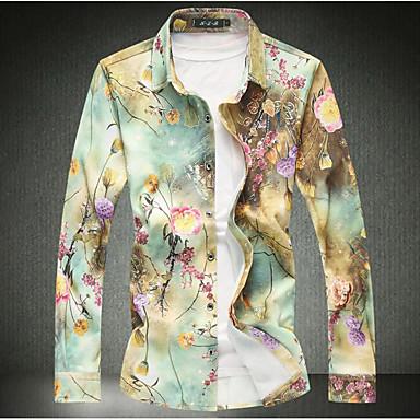 رخيصةأون ملابس رجالي-رجالي قطن قميص نحيل ياقة كلاسيكية - عتيق طباعة ورد أزرق XXXXL / كم طويل / الربيع / الخريف