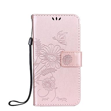 غطاء من أجل Samsung Galaxy حامل البطاقات محفظة مع حامل قلب مطرز غطاء كامل للجسم فراشة زهور قاسي جلد PU إلى S6 edge S6 S5 S4