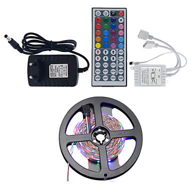 1x5M RGB-verlichtingsstrips Verlichtingssets 300pcs LEDs 1 44-toetsen afstandsbediening 1 DC-kabels RGB Knipbaar Waterbestendig