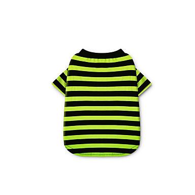 كلب T-skjorte ملابس الكلاب مخطط فوشيا أخضر قطن كوستيوم للحيوانات الأليفة للرجال للمرأة كاجوال/يومي