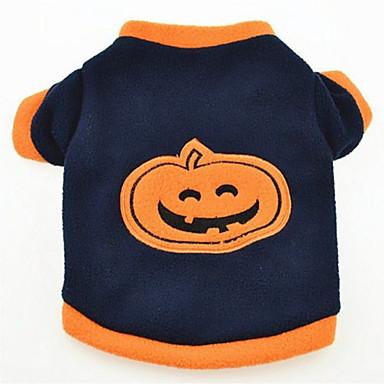 Hund T-shirt Hundekleidung Halloween Kürbis Dunkelblau