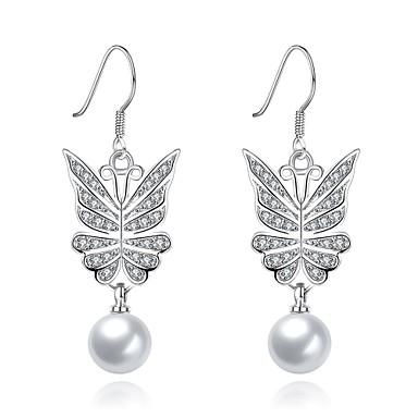Damen Tropfen-Ohrringe Imitierte Perlen KubikzirkoniaBasis Einzigartiges Design Anhänger Stil Herz Natur Geometrisch Freundschaft Vintage