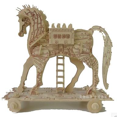 قطع تركيب3D تركيب الخشب نموذج مجموعات البناء ألعاب مربع بناء مشهور حصان معمارية 3D اصنع بنفسك خشب الخشب الطبيعي غير محدد قطع